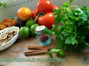 Bloedsinaasappel, tomaat, limoen, peterselie, saffraan en kaneel